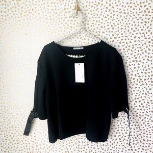 NWT Zara Black Buckle Sleeve Top